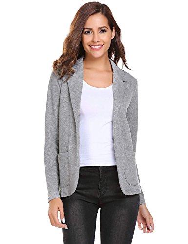 L'AMORE Damen Blazer Tailliert Kurz Elegante Langarm Slim Business Büro Jäckchen Anzug Casual Kurzblazer Mantel Jacke Oberteil- Gr. Small, Z Grau