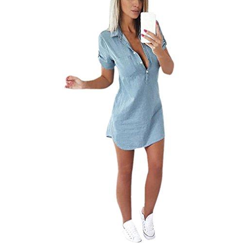 Elecenty abiti donna in denim classico casual a maniche corte in jeans con mini abito vestitino (asian size:l, blu)
