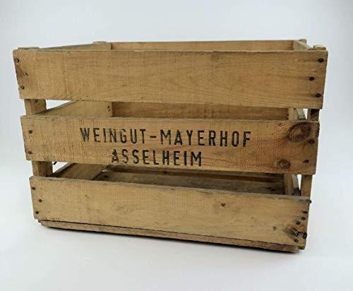 große stabile Pfälzer Weinkiste/Obstkiste aus Holz mit Aufdruck   sehr dekorativ   Schuhregal, Vintage, Deko   48x37x32 cm