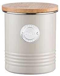 Typhoon Living Airtight Coffee Storage Canister with Bamboo Lid, 1 Litre, Putty