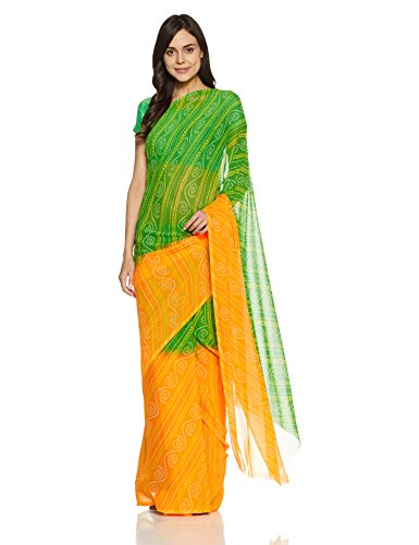Womanista Women's Printed Faux Georgette Saree with Blouse Piece (FSP346-Yellow & Green-Free Size)