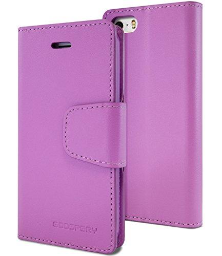 GOOSPERY Schutzhülle für iPhone 5SE, kompatibel mit Apple iPhone 5S / 5, hochwertiges weiches Kunstleder [Fallschutz] [ID/Karten- und Geldfächer], Sonata Purple