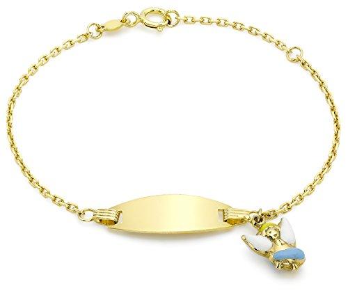 Carissima Gold Children's 9 ct Yellow Gold Enamel Angel Charm ID Bracelet of Length 14 cm