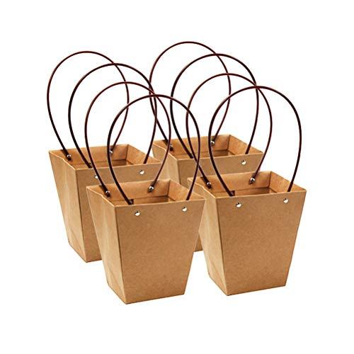 Amosfun 4pcs Kraftpapier-Geschenk-Beutel Trapez-Blumen-Verpackungs-Kasten-wasserdichte Betriebstote-Verpackungs-Beutel-Korb mit Handgriff für Hochzeit Geburtstag 30x6.5x9cm