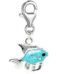 Sexy brilla de las mujeres Clip de plata tono turquesa peces encanto colgante para joyería Europea Clip en encanto W/broche de langosta