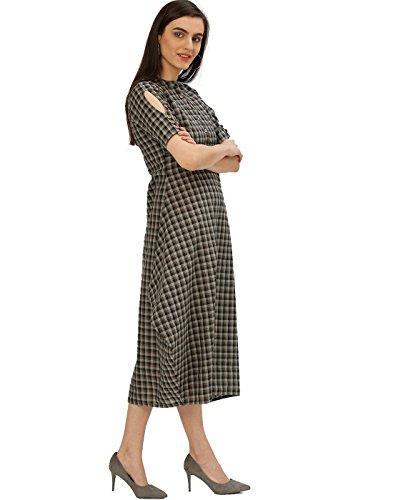 Desi-Fusion-Womens-Black-Grey-Self-Print-Asymmetrical-Handloom-Cowl-Dress