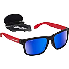 Cressi Unisex's Blaze Sport Sunglasses with Polarised Hydrophobic Lenses with Hard Case, Red Black/Lens Mirrored Blue, One Size