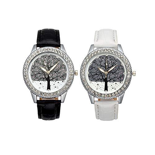 JSDDE Uhren, 2er Damen Armbanduhr Strass Baum Damenuhr Analog Quarzuhr Weiß&Schwarz-Silber