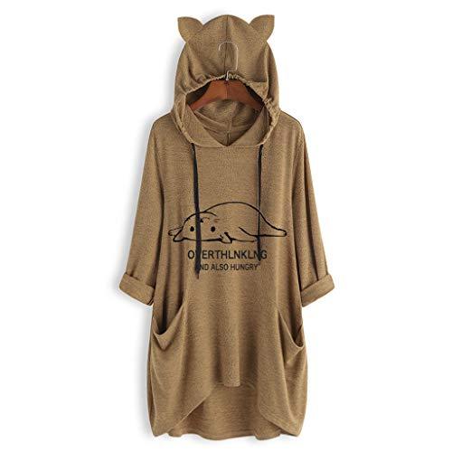 (iHENGH Neujahrs Karnevalsaktion Damen Herbst Winter Bequem Lässig Mode Frauen beiläufige liegende Katze gedruckte Lange Hülsenkatze Ohr mit Kapuze Sweatshirt Taschen Oberseiten)