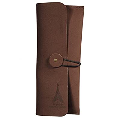 Retro Eiffel Tower Leather Purse Wallet Cosmetic Makeup Pen Bag,Coffee