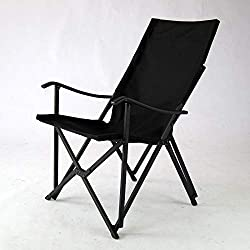 Sillón plegable de aluminio (negro) - Sillas de camping | Silla de jardín | Tailgating | Sillas de exterior | Equipo de camping | Evento | RV | Caravana | Jardín | Césped | Silla delgada | Buen diseño