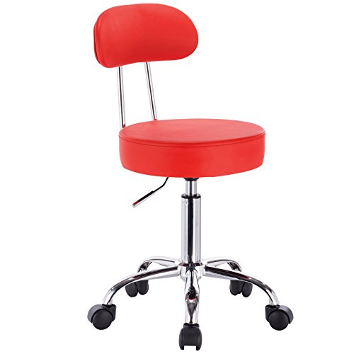 WOLTU® 1 Stück Arbeitshocker Drehhocker Rollhocker Drehstuhl Hokcer Bürostuhl mit Lehne höhenverstellbar Rot BH34rt-1