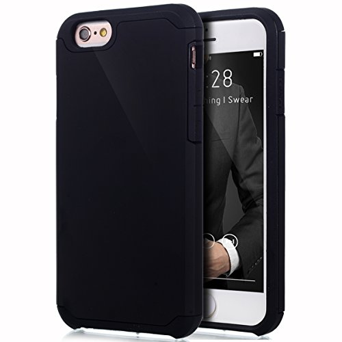 Cover iPhone 6S,Cover iPhone 6,Custodia iPhone 6S / 6 Cover,ikasus® [Heavy Duty Serie] Hybrid Outdoor Dual Layer Armor Custodia custody sleeve Case Cover per iPhone 6S / 6 Custodia Cover [Shock-Absorp Nero