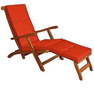 Coussin pour chaise longue 173 cm matelas transat bain for Chaise longue jardin amazon