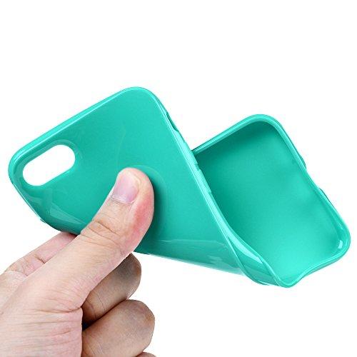 Badalink TPU Case Silikon Hülle für iphone 7 FederLeicht Hülle Gummi Bumper Cover Schutz Schale Siliconcase Silikon Tasche Schutzhülle für iphone 7 mit Schwarz Design Cyan