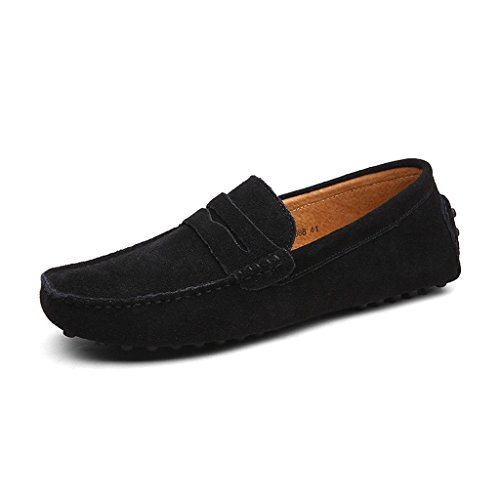 cczz Hombre Clásica Tipo mocasín Suave Comfort Ante Loafers Guantes Toque Minimalista Mesa Planas conducción Guantes Boot Slippers 38–49EU, Color Negro, Talla 49 EU