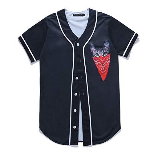 SPONSOKT Herren Kurzarm Shirt Original Street Persönlichkeit Gesicht Gesicht Katze Herren Baseball Shirt Kurzarm Strickjacke,Schwarz,XL