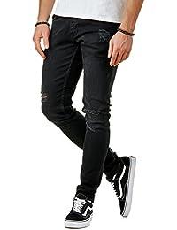 e57283f067e1 EightyFive Herren Denim Destroyed Jeans-Hose Slim Fit Zerrissen Schwarz  EFJ3593