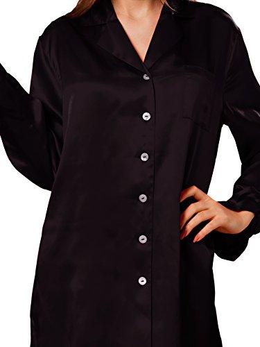 ELLESILK 100% Natur Seide Nachtshirt Damen langarm, 22 MM Maulbeerseide Sleepshirt Schwarz
