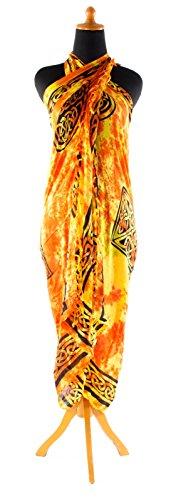 Sarong ca. 170cm x 110cm Handgearbeitet inkl. Sarongschnalle im Schmetterling Design - Viele exotische Farben und Muster zur Auswahl - Pareo Dhoti Lunghi Keltisch Rot Gelb Batik