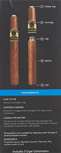 eKaiser E Cigar - Wiederaufladbare elektronische Zigarre mit Cartomizern - 3 Nikotinfreie Goldtabakkartuschen - e-Shisha Starter Kit