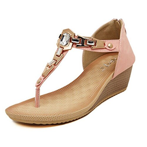 0f5638b73 Women s Round Peep Clip Toe Low Wedge Back Zip Cover Heel Metal Buckle  Rhinestone T-