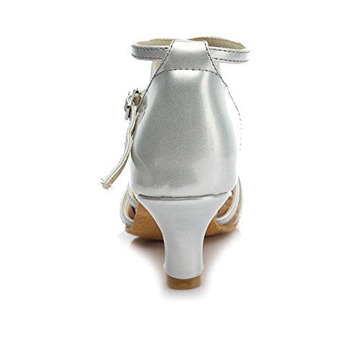 Hroyl Femmes I7-213 Satin Chaussures De Danse Latine 5cm Argent