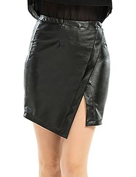 Negras de la PU de las mujeres hendidura falda Bodycon