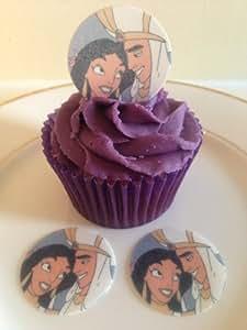 24 précoupés rondes Aladdin et Jasmine princesse comestibles coupe topper décorations pour gâteaux