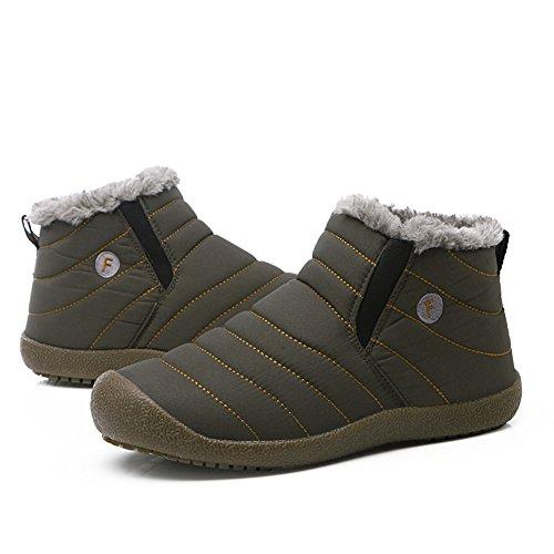 Gomnear Scarpe da neve Uomo Donna Invernale Sneaker caldo leggero invernale con pelliccia Fullu Grigio