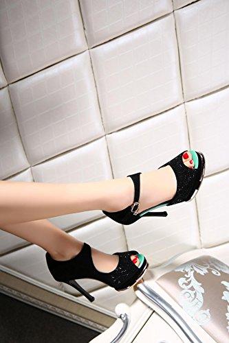 Peep Toe Pumps Stylish Charming D'orsay Schwarz Leder wasserdichte Plattform Super High Heel Sandalen für Frauen Größe 30-43 days blue