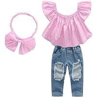 3PCS / Set Ropa para niñas de Moda para niños Hermosas Fuera del Hombro Tops de Color sólido + Pantalones Largos de Mezclilla + Diadema de Bowknot - Rosa y Azul 120 cm