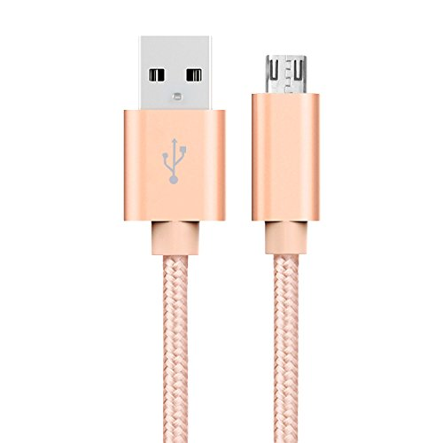 MeOkey Micro USB Kabel OD 3,0mm Nylon Geflochtene Schnell Aufladeeinheit für für Android, Samsung, HTC, Nokia, Sony, Kindle und Mehr Rosa Gold 2m/6,6ft (Htc-tablet-sprint-ladegerät)