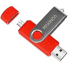 8GB/16GB/32GB/64GB Flash Drive de USB OTG (On the Go) Doble Transforma Memoria USB Stick 2.0 a Micro USB Para Smartphone Android o Tableta (no admite Iphone) (16GB, rojo )