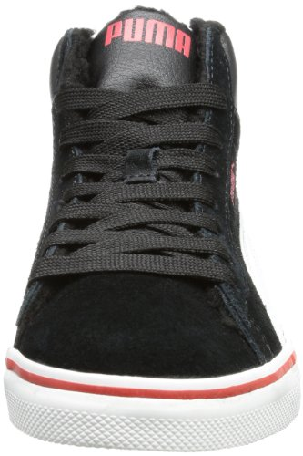 Puma Puma Mid Vulc FUR Unisex-Kinder Hohe Sneakers Schwarz (black-white-high risk red 06)
