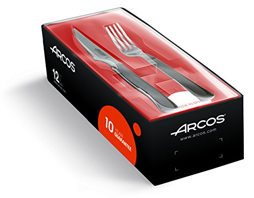 Arcos 378100 - Juego de cuchillo chuletero y tenedor, 100 mm (12pzs)