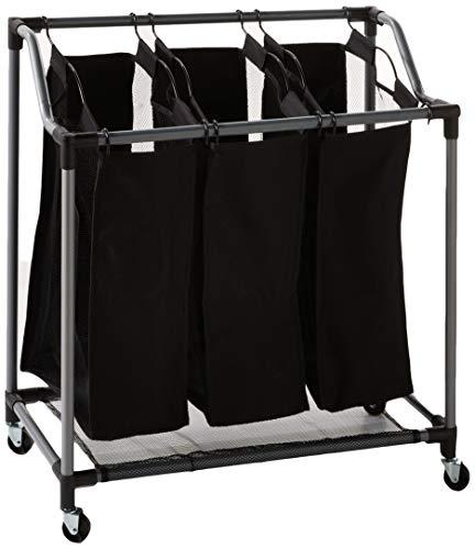 Sunbeam strapazierfähiges Dreifach Wäschesammler Sortierer Rolling mit Rädern, schwarz -