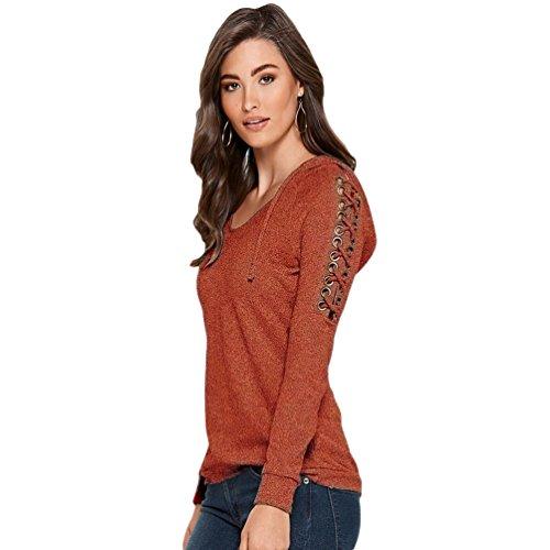 WanYang Femmes Casual à Capuche à Manches Longues Sweat Pulls Tops T Shirt Strap Décoration Blouse Rouge