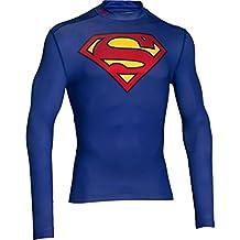 Under Armour camiseta de entrenamiento para hombre ColdGear Superman alter Ego, color  - blau / rot / gelb, tamaño SM (Small)