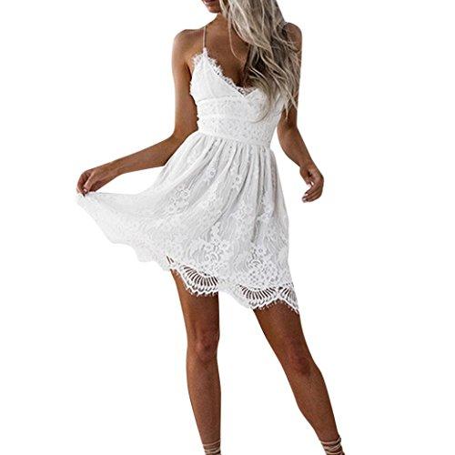 Ansenesna Kleid Damen Sommer Knielang Festlich Spitze Elegant Mini Cocktailkleid Kurz Party A Linie V Ausschnitt Für Hochzeit Weiß (S, Weiss)
