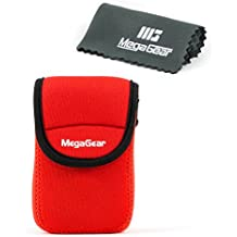 MegaGear ''Ultra Light'' Neoprene Bolsa de la Cámara con Mosquetón para Panasonic ZS60, DMC-TZ80 Cámara Digital (Rojo)
