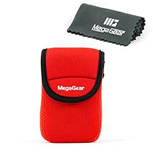 MegaGear Ultra Light Neoprene Case with Carabiner for Sony DSC-WX500 Camera - Red
