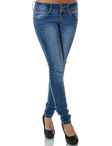 Damen Jeans Hose Skinny (Röhre) No 15511 Blau