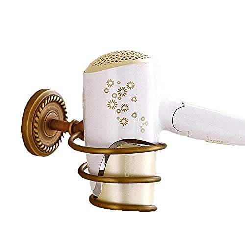 WEIUTY Handtuchhalter Regal Metall für Rahmen Retro Fönhalterung Wand-Fönhalter mit Spiralfeder aus gebürstetem Nickel und antikem Messing mit Gravur auf der Basis -