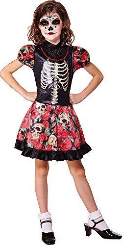 Kinder Halloween Kostüm Party Outfit Tag Der Toten Mädchen Kostüm - Multi, Medium
