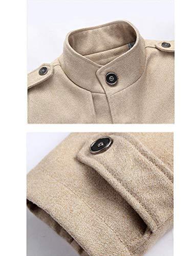 MatchLife Herren Wollmantel Wintermantel Winter Jacke Warm Wolljacke Männer Parka Style3-Khaki S - 3