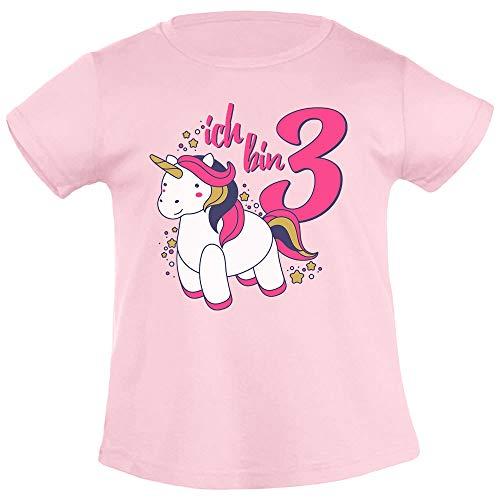 Ich Bin DREI Einhorn Geburtstags Mädchen Mädchen T-Shirt 96/104 (3-4J) Rosa - 3-jähriges Geschenke Mädchen