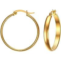 Vnox ragazza in acciaio inox 4 millimetri rotonda del tubo delle donne Media orecchini a cerchio in oro,clip su