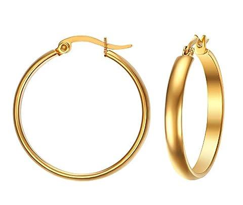 Vnox Women's Girl's Stainless Steel 4mm Round Tube Medium Hoop Earrings Gold,Clip on