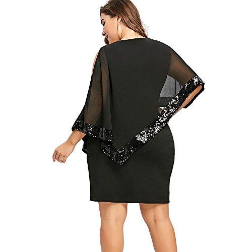 iDeesse Damen Übergröße Zweiteilig 3/4 Arm Rundkragen Pailletten Kleid (Schwarz, 2XL) - 2
